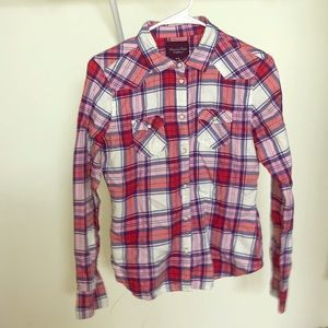 American Eagle Plaid pearl snap top. Sz MED